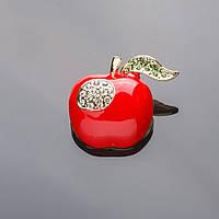 Брошь Яблоко красная эмаль, золотистый металл 3см