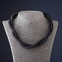 Колье из шнура Переплетение черное L-55 см