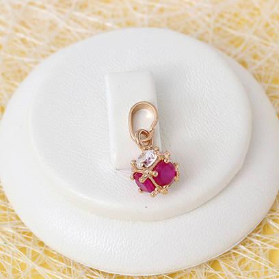 010-0674 - Кулон с фианитами цвета корунда и прозрачными розовая позолота