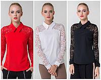 Модная женская блузка с гипюровыми рукавами / Украина / софт
