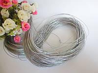 Шнур люрексовый, d 1 мм, цвет серебристый, 100 м