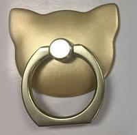 Кольцо-держатель  для телефона Кошка золотистая