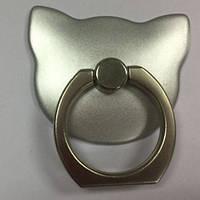 Кольцо-держатель  для телефона Кошка серебристая