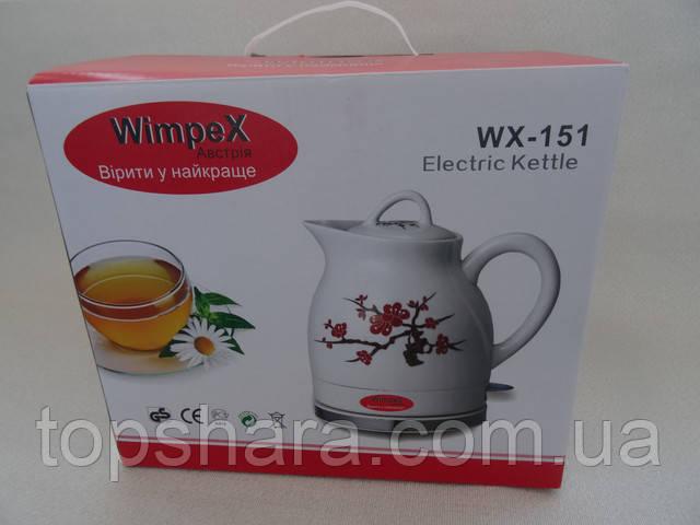 Электрочайник дисковый керамический WimpeX WX-151 на 1.5 л.
