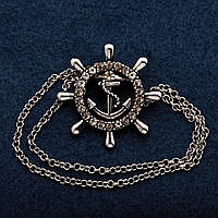 Брошь Штурвал с цепочкой Ø3 см цвет металла серебро