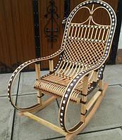 Кресло качалка  коричневая с ротангом, фото 1