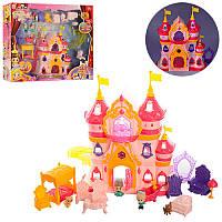 Замок 1206D принцессы 30-26-8,5 см, муз, свет, мебель, фигурки,  на батарейке