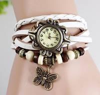 Часы браслет с бабочкой (белые) - ОПТ