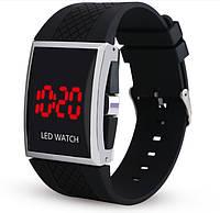 Мужские LED часы на силиконовом ремешке Черные mw12 - ОПТ