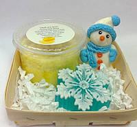 Мыльный набор Снеговик,снежинка и скраб для тела