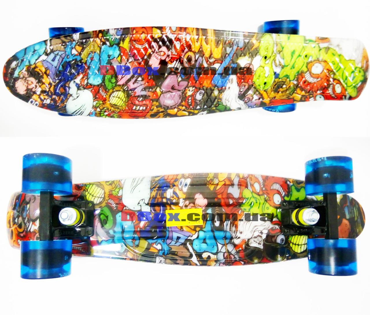 "Скейт Пенни борд Penny Style LUX 22"" с рисунком + оригинальная гравировка Penny  Матовые, Monsters (2T2035/WM/MS)"
