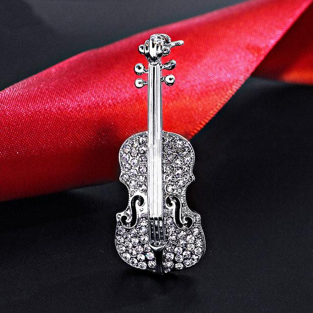 Красивая женская брошка Скрипка
