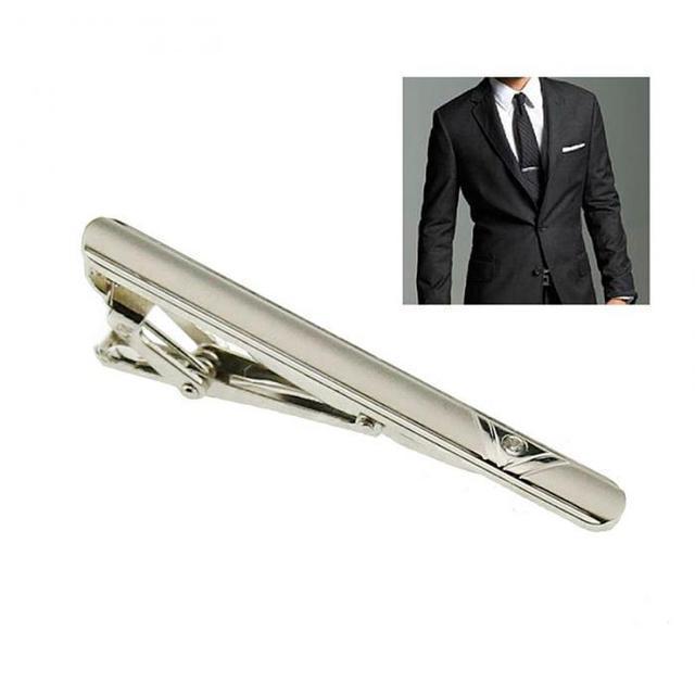 Серебристый мужской зажим для галстука, фото 1