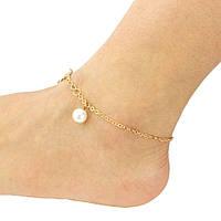 Анклет браслет на ногу женский золотистый с подвеской, фото 1