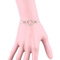 Модный браслет женский Сердечко с кристаллами