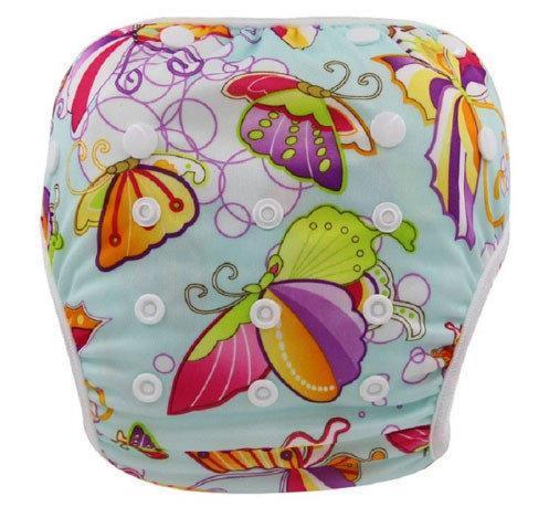 Многоразовые подгузники для плавания в бассейне рисунок Бабочки до 2 лет