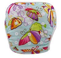 Многоразовые подгузники для плавания в бассейне рисунок Бабочки до 2 лет, фото 1
