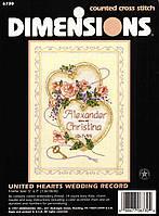 Набор для вышивания Dimensions 06730 Соединенные сердца United Hearts Wedding Record