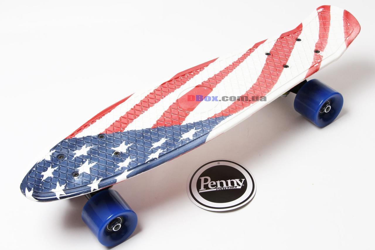 """Скейт Пенни борд Penny Style LUX 22"""" с рисунком + оригинальная гравировка Penny  Матовые, USA Flag (2T2035/WM/UF)"""
