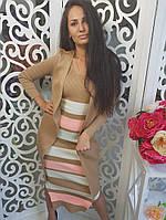 Женский красивый костюм: платье + кардиган (3 цвета)
