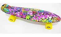 "Скейт Пенни борд Penny Style LUX 22"" Girl Draft с рисунком + матовые колеса + гравировка Penny"