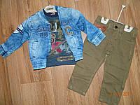 Крутые комплекты для мальчиков с джинсовыми  куртками размер 1,2.3,4 года