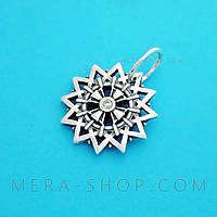 Звезда Эрцгаммы двусторонний амулет с камнями (серебро 925 пробы)