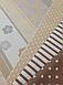 Хлопковая ткань польская сердца на полоске и цветочками серо-бежевая №565, фото 5