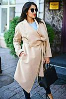 Женское однотонное кашемировое пальто большого размера. Ткань: кашемир. Размер: 50-52, 54-56.
