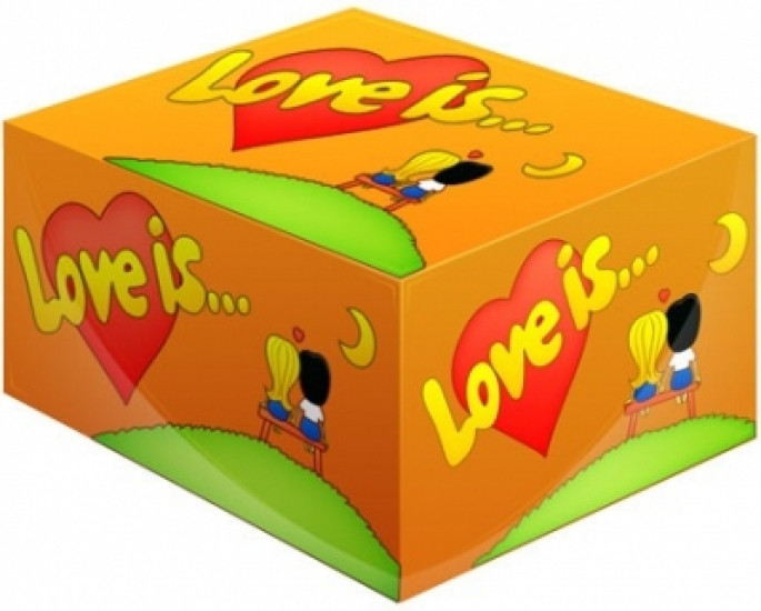 Блок жвачек Love is... Апельсин 100 шт