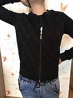 Кофта с карманами на змейке Женский бомбер черного цвета, размеры S M L