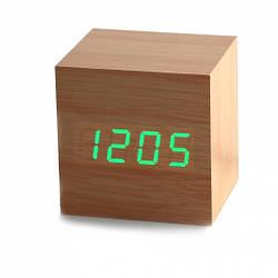 Часы будильник дерево wood clock green часы брусок дерева