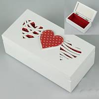 Деревянная шкатулка для украшений Три сердца