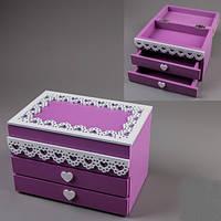 Деревянная шкатулка для украшений Фиолетовая