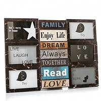 Фотоколлаж рамка для фотографий фоторамка Enjoy life Brown на 9 фото