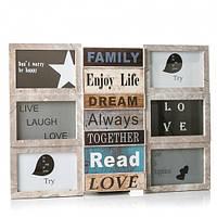 Фотоколлаж рамка для фотографий фоторамка Enjoy life Ivory на 9 фото