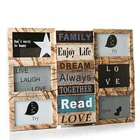Фотоколлаж рамка для фотографий фоторамка Enjoy life Gold на 9 фото