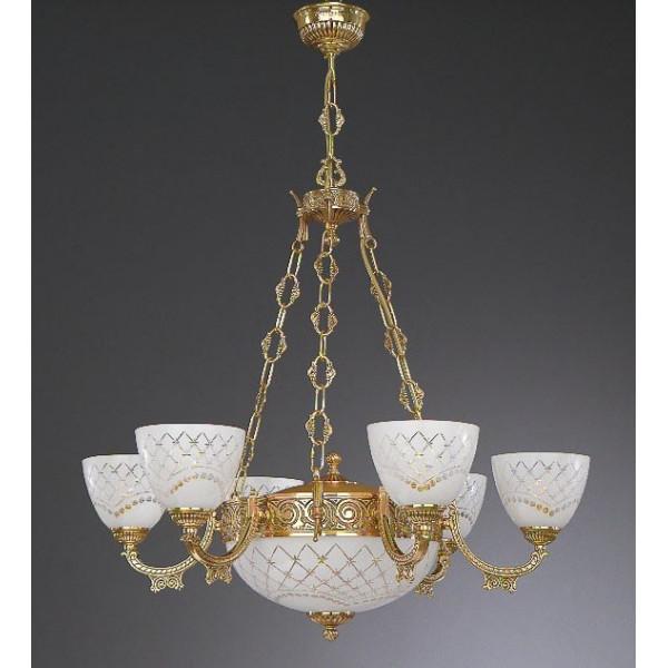 Люстра RECCAGNI ANGELO L 7152/6+2  золото/стекло/белый