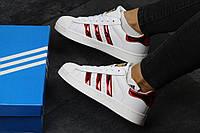 Кроссовки Adidas Superstar, женские, белые с бордовыми полосками