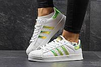 Женские кроссовки Adidas Superstar, белые с салатовыми полосками