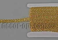 Тесьма декоративная золотая с пайетками голограмма 15мм/~15ярд код2,5/16TB0321-21
