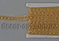 Тесьма декоративная золотая с пайетками цветочек 18мм/~15ярд код3/14TB0722-44
