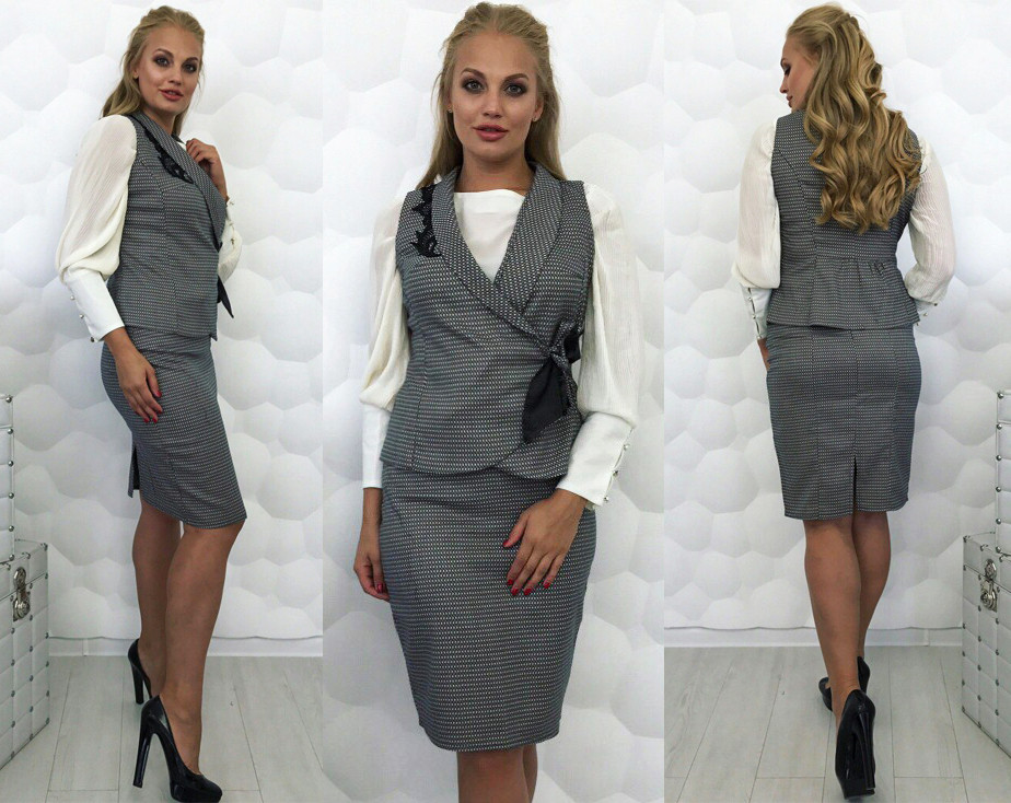 костюм юбка с жилетом фото