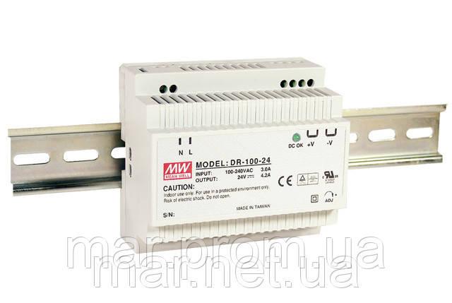DR-100-24 Блок живлення Mean Well 100.8 вт, 24в, 4,2 А на Din-рейку (знято з виробництва, заміна серія HDR)