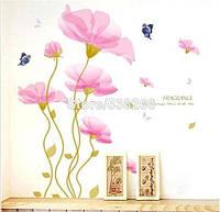 Наклейка на стену, виниловые наклейки, стикеры  Розовые цветы 1м26см (лист 60*90см)