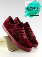Бордовые бархатные женские кроссовки bl70p 36