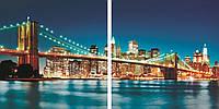 Модульная картина на стекле Ночной мост 80*40 см