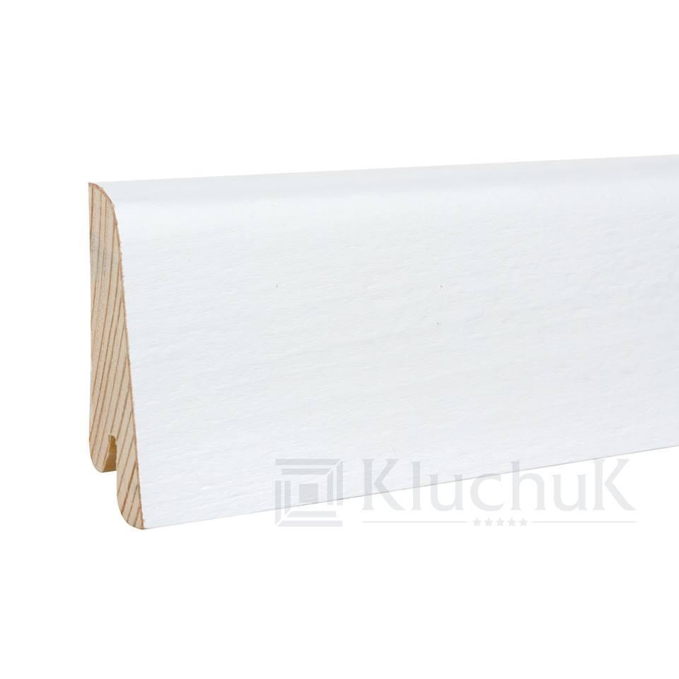 Плинтус деревянный белый KluchuK WHITE PLINTH профиль Евро 60*19*2200