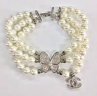 """Браслет под колье Chanel """"Бабочка"""" с органическим жемчугом в три ряда и в камнях Swarovski"""