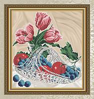 """Схема для вышивки бисером натюрморт """"Яблоки с виноградом в хрустале"""""""